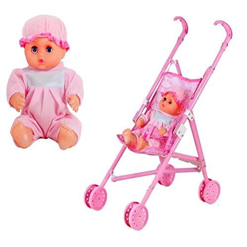 Muñeco de plástico, carrito de muñecas con bebé niña, carrito de muñecas plegable con mango estable, regalo para niños, 18,11 x 9,45 x 21,65 pulgadas
