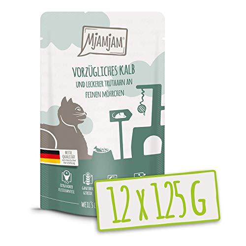 MjAMjAM - Premium Nassfutter für Katzen - Quetschie - vorzügliches Kalb & Truthahn an leckeren Möhrchen, 12er Pack (12 x 125 g), getreidefrei mit extra viel Fleisch
