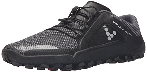 Vivobarefoot Primus Trail Fg, Mens Recycled Breathable Mesh Off-Road Shoe with Barefoot Firm Ground Sole Black/Charcoal