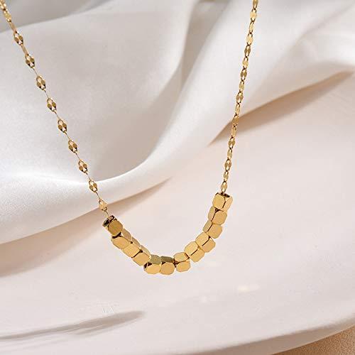RTY No se desvanece pequeño collar de moda cuadrado femenino Ins Clavícula cadena diseño nicho suéter cadena joyería Bafang Lai Cai-Golden