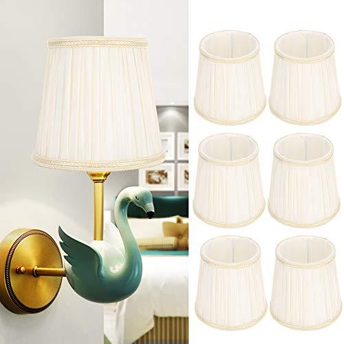 Duokon Licht Lampenschirm Leinen Lichtschirme, 6Pcs Modern Stoff Stoff Lampenschirm Lampenabdeckung Zubehör für E14 Kronleuchter Wandleuchte Beige