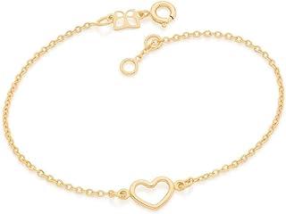 Pulseira Rommanel Banhado Ouro Pingente Coração Vazado 551674