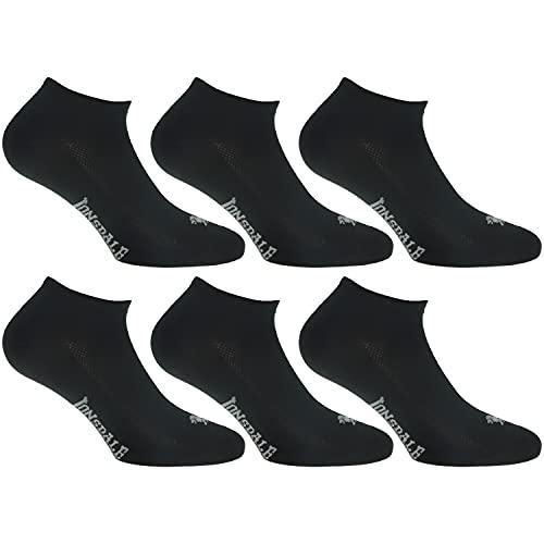 Lonsdale Invisible Fresh 6 Paia di calzini Sneaker, eccellente qualità di cotone con lavorazione Piquet (Nero, 43-46)