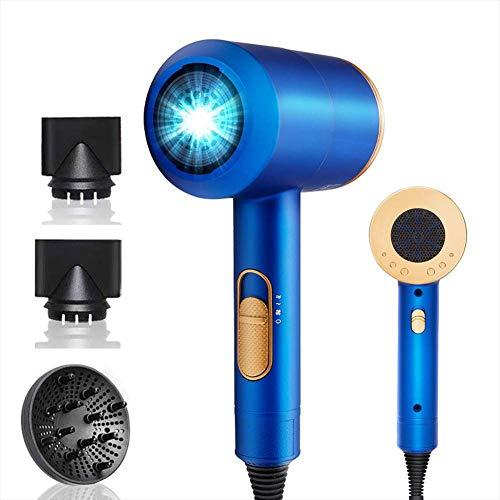 LGZY Secador de Pelo Profesional 2000W, Tecnologia Ceramica y Ion Negativo, 3 Velocidades, Contiene 1 Difusor y 2 Concentradores,Azul