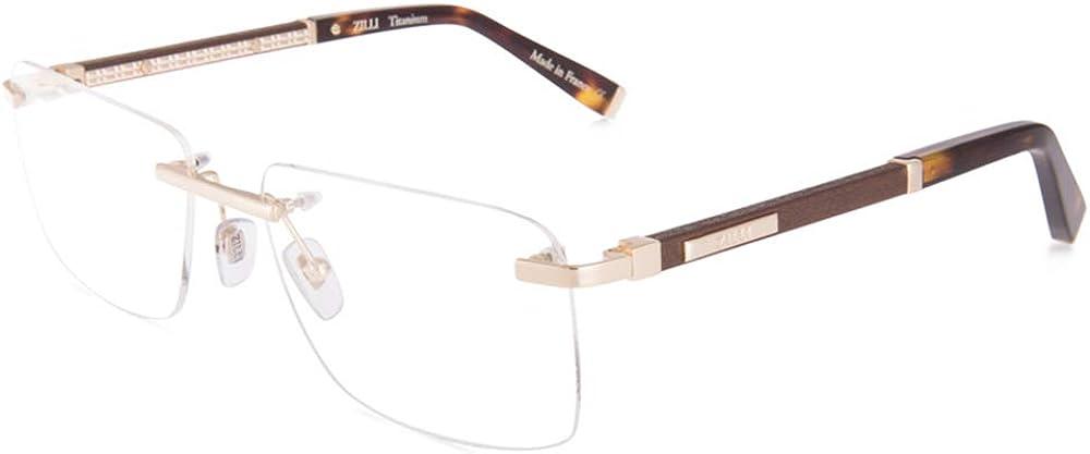 ZILLI 激安価格と即納で通信販売 60032 Eyeglasses for 100%品質保証! Men Acetate Titanium Rimless Eyewear