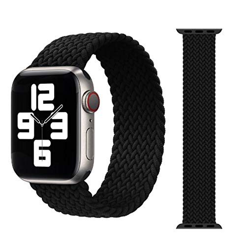 MPWPQ Correa trenzada para Apple Watch de 44 mm, 40 mm, 38 mm, 42 mm, nailon elástico, para iWatch Series 6, SE, 5, 4, 3, 2, 1 (color: negro, tamaño: L (38 mm-40 mm)