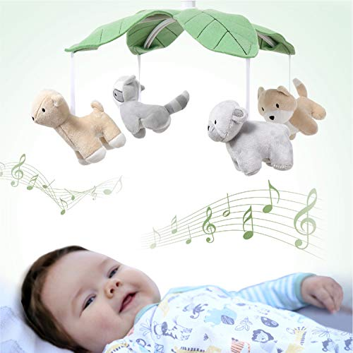 The Peanutshell Woodland Animals Musical Crib Mobile for Baby Boys or Girls   Digital Music Box with 12 lullabies