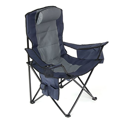 HOMSPORT Outdoor Ultimate Fishing Chair Camping Folding Chair with Big Ice Bag and Single Cup Side