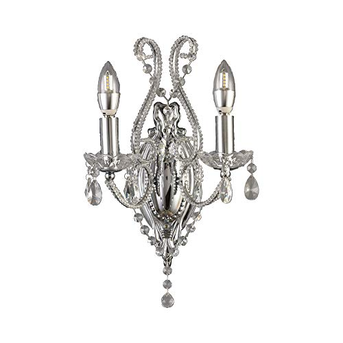 EFINEHOME Classic 2 Light Crystal Wall Sconce, Chrome Finish and Clear Crystal Accents- 2 Bulbs Modern Wall Light fixtures Indoor Wall Vanity Light Fixture for Room Home Shop Wall D¨¦cor