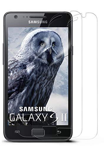 MoEx® Kristallklare HD Schutzfolie kompatibel mit Samsung Galaxy S2 / S2 Plus | Displayschutzfolie Kratzfest + Fast unsichtbar, Ultra Klar 2X Stück