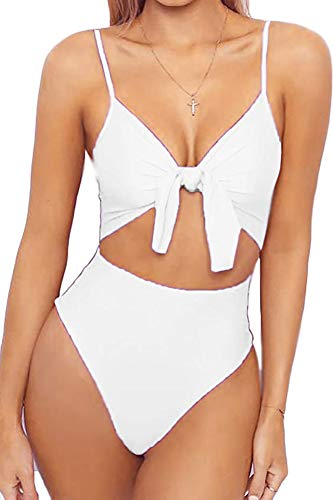 Qearal Women's Padded Push Up One Piece Swimsuit Tie Knot Tummy Control Bathing Suit Plus Size (XL, 09 White)