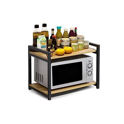 WJGJ Micro-Ondes clayette étagère, Cuisine Fournitures étagère de Rangement Four à Micro-Rack 2-Tier Spice Pot Rack Cuisinière électrique (Noyer Clair + Noir), 49.5cm (Size : 49.5Cm)