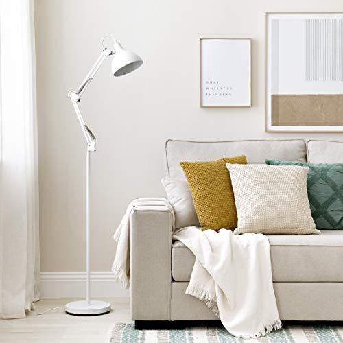 Kenay Home-Lámpara De Pie Salón Comedor Blanca Metal Flex Colección Basic, 23x43x145cm (WxDxH)