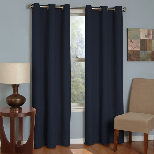 ECLIPSE Blackout Curtains for Bedroom - Microfiber 42' x 84' Insulated Darkening Single Panel Grommet Top Window Treatment Living Room, Navy
