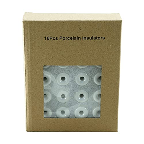 Aisladore de Porcelana para Cable textil para Instalación Eléctrica Vintage,Diámetro:20 mm,Kit de...