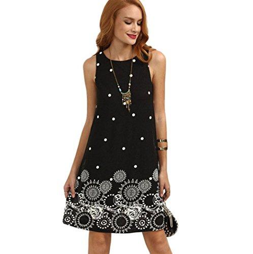 Preisvergleich Produktbild Binggong Kleid Damen,  Frauen Sommer Solide Chiffon Sleeveless Abend Party Weste Kleider Rundhalsausschnitt Weste Rock Reizvoller Populäre Minikleid (L,  Schwarz)