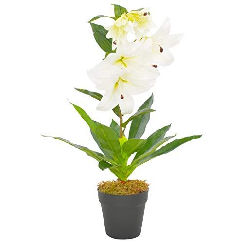 vidaXL Planta Artificial Decoración Lirio Maceta Flor Decorativa Realista Exterior Interior Oficina Flores Hojas Plástico 65 cm Alta Verde Blanco