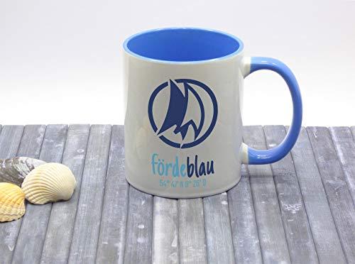 Fördeblau Kaffeebecher Kaffeetasse maritim Keramik Segel bedruckt