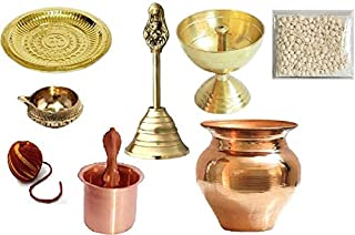 finaldeals Combo Pack Pooja Item Brass Bell Different Type Two Pooja Diya Deepak Om Pooja Thali with Copper Panchpatra and...