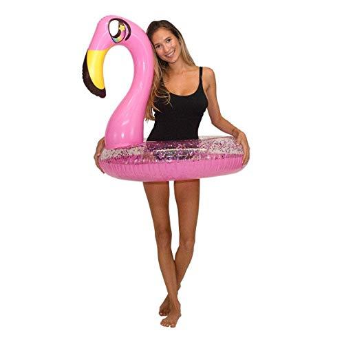 "Poolcandy Glitter Animals Pool Tube 36"" Inflatable Pink Flamingo Pool Float"