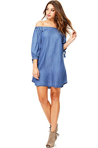 Cest Toi Women's Off-Shoulder 3/4 Sleeve Chambray Dress (M, Med. Denim)