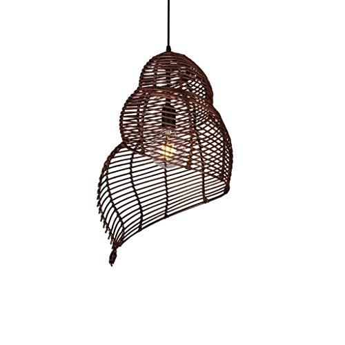 LLLKKK Creativa Conch lámpara redonda de satén, forma de espiral, ratán, lámpara de techo pastoral, victoria, sombra de ratán, bombilla E27 Edison para el techo de la habitación (color: marrón)