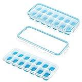 IKICH Eiswürfelform Silikon Eiswürfelbehälter mit Deckel Klickverschluss mit Silikondichtung...