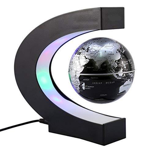 ZJchao Globo Flotante con LED Levitación magnética C Forma de Bola Mapa del Mundo Ideas de Regalos para la educación Aprender Enseñar Oficina Decoración del hogar