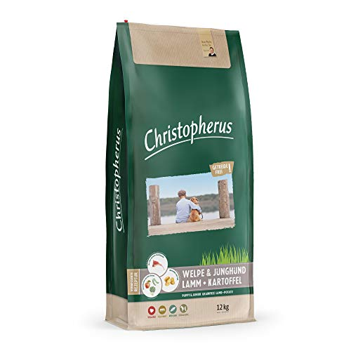 Christopherus Grainfree Trockenfutter für Welpen und Junghunde, Für kleine bis große Rassen, Lamm + Kartoffel, 12 kg