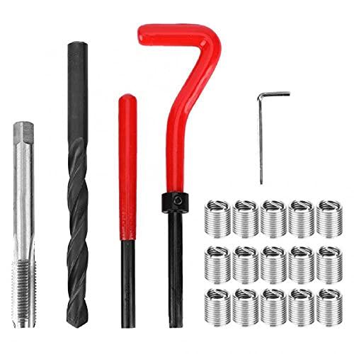 20pcs M9x1.25 Thread Inserts Women Thread Repair Car Accessories Thread Repair Kit Lock Pas Inserts Inserts Drill Press Set