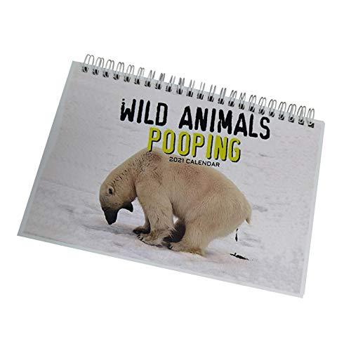 chora Calendario de Pared 2021 Animales Salvajes Pulgadas Vista mensual 16 Meses Incluye Pegatinas recordatorias Animales Salvajes Caca Divertido Regalo de mordaza Llamadas de la Naturaleza Classical