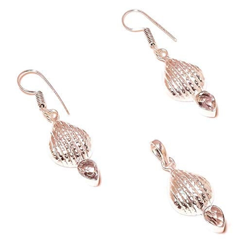 Jewels House Juego de Pendientes y Colgante de Cristal de Cuarzo Chapado en Plata y Pendientes a Juego