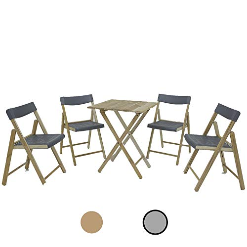 Dawsons Living Wooden Bistro Set - Premium Quality Teak Weatherproof Garden Furniture Set - Folding Table and 4 Chairs - Decking Patio and Balcony Set (Grey)
