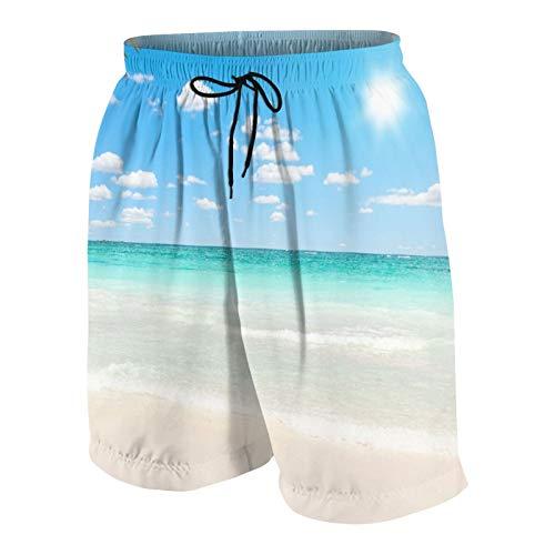 KOiomho Hombres Personalizado Trajes de Baño,Impresionante Playa caribeña con Agua Transparente,Casual Ropa de Playa Pantalones Cortos