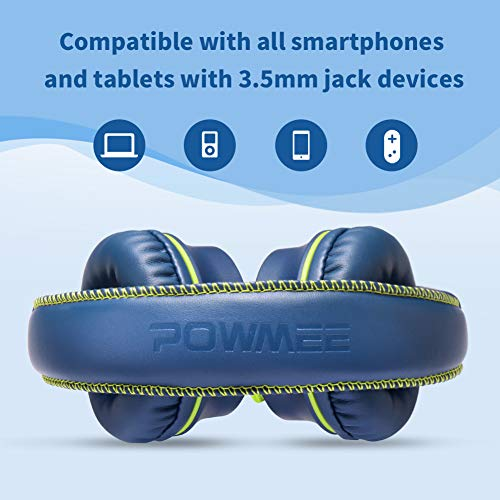 POWMEE M2 Kids Headphones Wired Headphone for Kids,Foldable Adjustable Stereo Tangle-Free,3.5MM Jack Wire Cord On-Ear Headp   hone for Children/Teens/Girls/School/Kindle/Airplane/Plane/ (Blue)