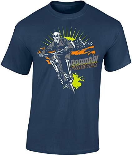 Camiseta de Bicileta: Downhill Forever - Regalo para Ciclistas - Bici - BTT - MTB - BMX - Mountain-Bike - Regalos Deporte - Camisetas Divertida-s - Ciclista - Retro - Fixie-Bike Shirt (L)