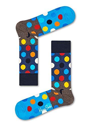Happy Socks, bunt klassische Baumwolle Socken für Männer & Frauen, Graue Big Dot Block (36-40)