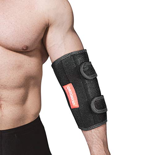 ORTONYX Elbow Support Brace Immobilizer Splint for Man and Women Tennis and Gorfers Elbow, Tendonitis, Bursitis, Unlar Nerve Entrapment, Cubital Tunnel Syndrome, Arthritis Pain L/XLBlack