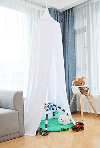 Laneetal Kinder Baby Betthimmel Baldachin Weiß mit Bommeln, Princess Insektennetz Moskitonetz Kinder Baby Kinderbett Spiel Zelt Kuschelecke