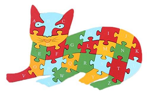 Bigood Puzzle Jouet Enfant Bébé en Bois Alphabet Chiffre Cognition Eveil Chat