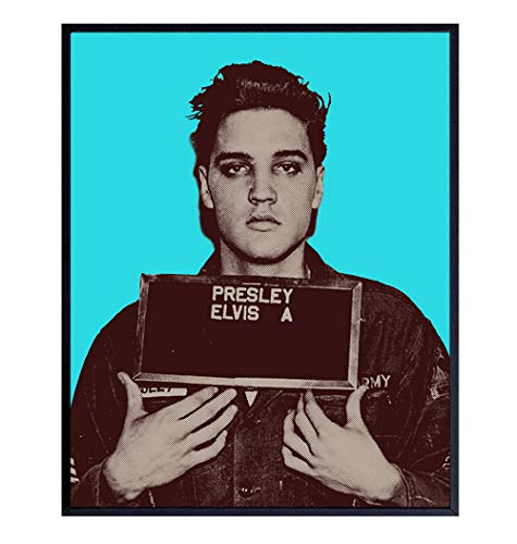 Elvis Presley Mugshot Wall Art, Andy Warhol Style Pop Art Poster Print, Contemporary Home Decor - Unique Room Decorations for Dorm, Apartment, Living Room - Gift for Musician, Music Fans - 8x10 Photo