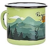 Respect Nature | Taza esmaltada de MUGSY en verde | Diseño exterior | Taza esmaltada resistente y ligera para camping y senderismo | Taza de café retro 330 ml