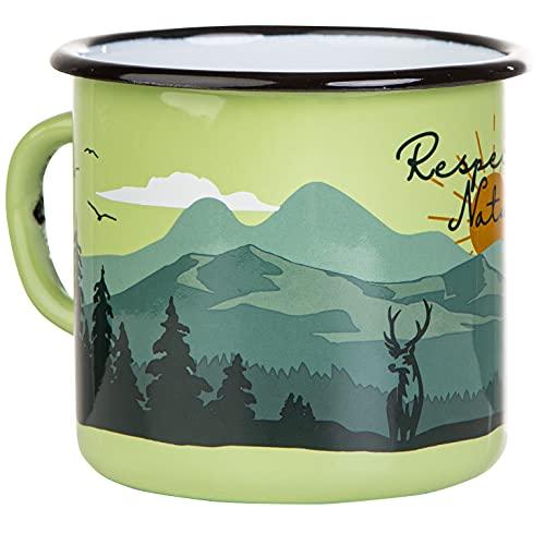 MUGSY Respect Nature - Tazza smaltata in verde | design esterno | Tazza smaltata robusta e leggera per campeggio e escursioni | Tazza da caffè retrò 330 ml