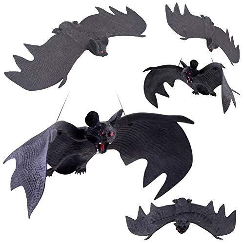 Halloween Fledermäuse,5er Pack Halloween Fledermaus Dekor Horror Gummi Hängefledermäuse Realistische Gespenstische Aufhänger Spielzeug für Partyartikel und Dekoration