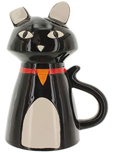 MIK Funshopping Kanne Teekanne Kaffeekanne Katze Kitty aus handbemalter Keramik 1,1 Liter Höhe 22,5cm (schwarz)