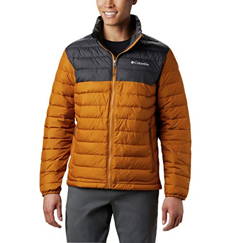 Columbia Powder Lite Jacket Chaqueta, Hombre, Amarillo (Burnished Amber/Shark), M