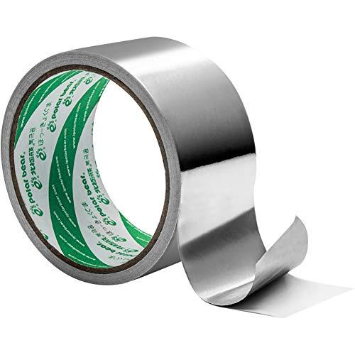 Z·Bling Cinta De Aluminio,Cinta De Aluminio Adhesiva Alta Temperatura Cinta De Reparación Resistente A La Corrosión Cinta Aluminio,para Aislamiento De Tubo De Escape,48mmx9.1m Color Plateado