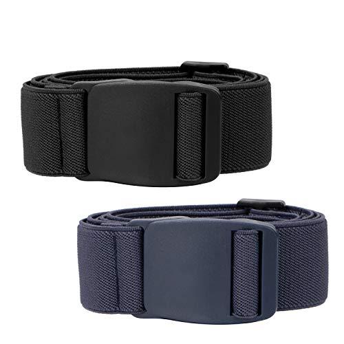 Men's No Show Elastic Stretch Belt Invisible Casual Web Belt Flat Plastic Buckle (2 Black/Blue, Fit Waist Size 24'-42')