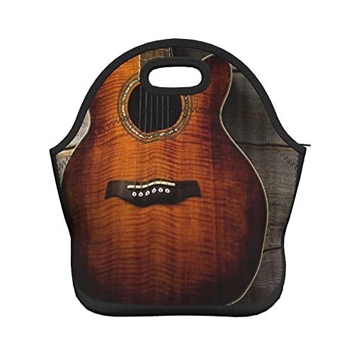 ADONINELP Bolsa de almuerzo con aislamiento para mujeres y hombres, guitarra roja para instrumentos, bolsa de mano con aislamiento térmico resistente al agua, bolsa de almuerzo, enfriador de alimento