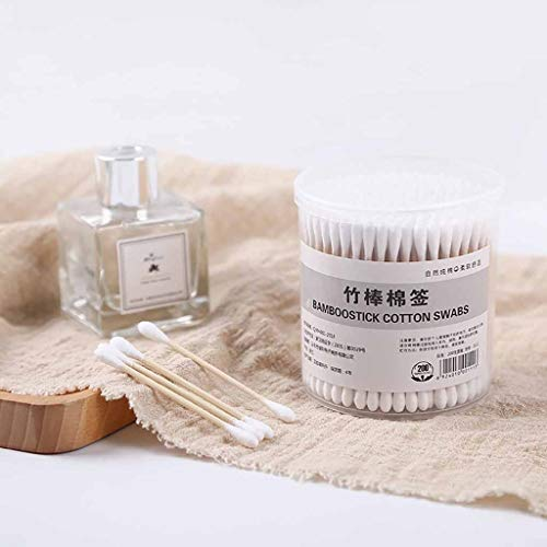 Jamicy ™ - 100 unidades de 200 hisopos de algodón natural con doble cabeza, palillos de madera para limpiar las orejas de nariz (B)